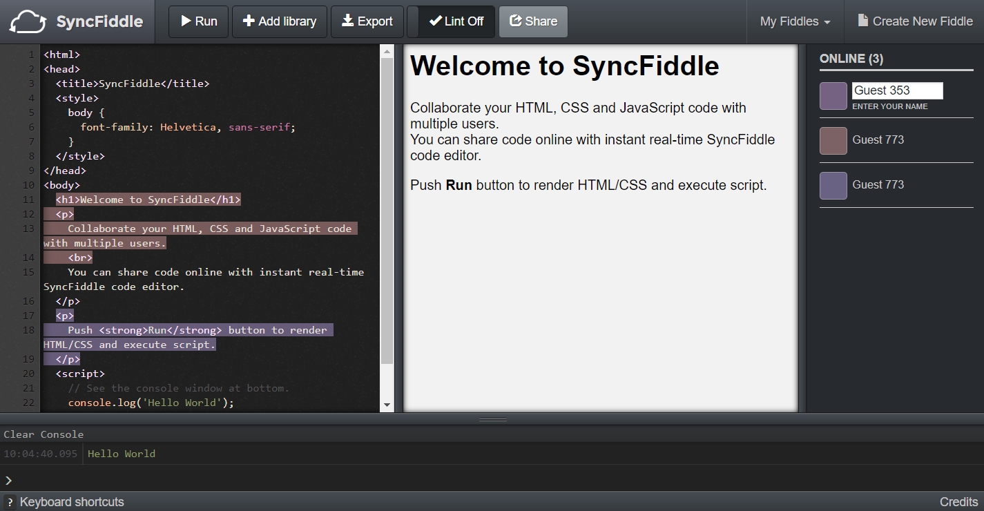 SyncFiddle - Collaborate HTML, CSS and JavaScript code in